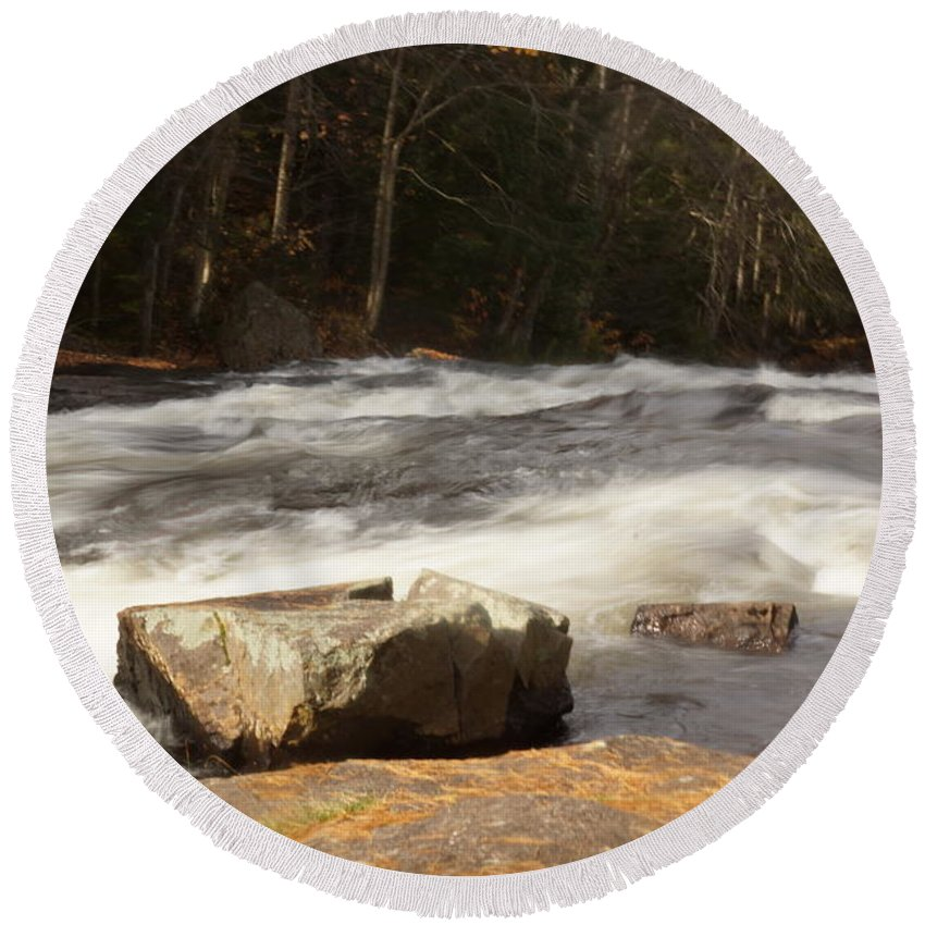 Rivers Round Beach Towel featuring the photograph Moving Waters by Jeffery L Bowers