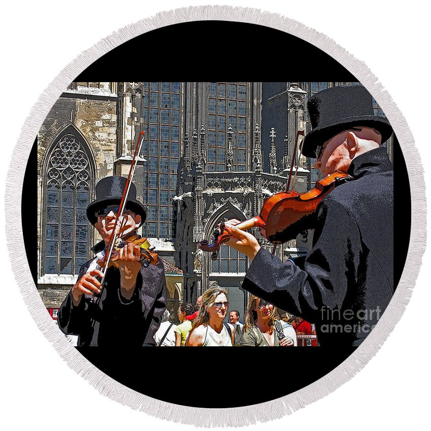Buskers Round Beach Towel featuring the photograph Mozart In Masquerade by Ann Horn