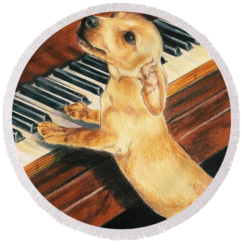 Purebred Dog Round Beach Towel featuring the drawing Mozart's Apprentice by Barbara Keith