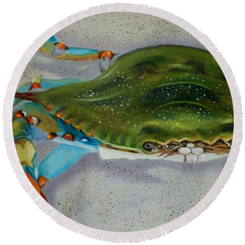 Coastal Round Beach Towel featuring the painting Mr. Sandman by Jill Ciccone Pike