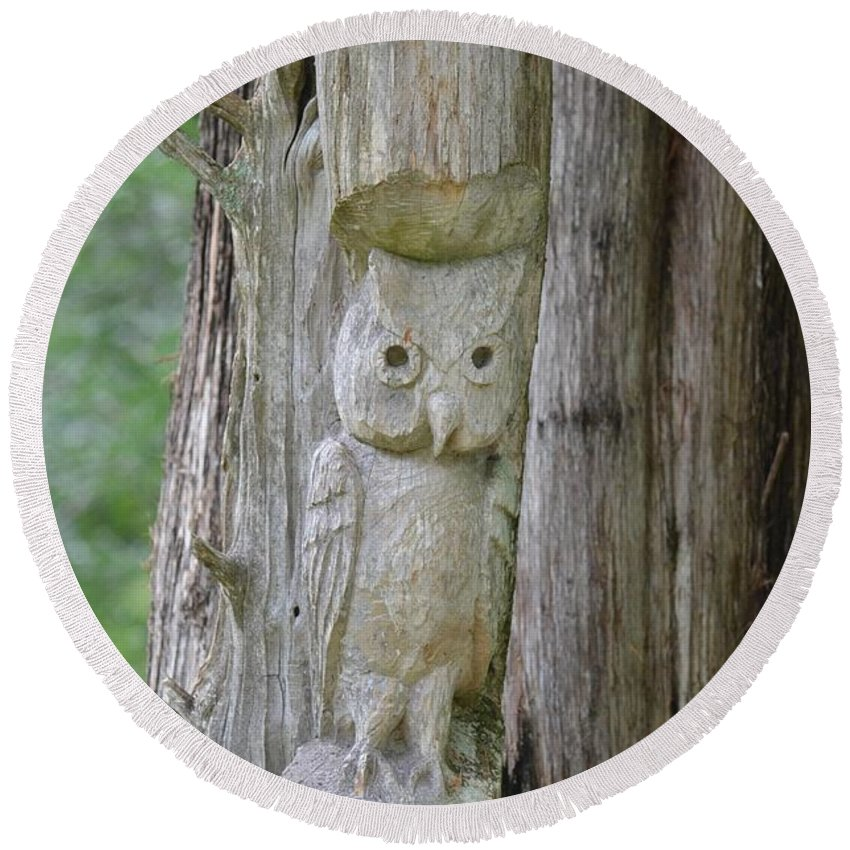 Mr Tingle's Owl Round Beach Towel featuring the photograph Mr Tingle's Owl by Maria Urso