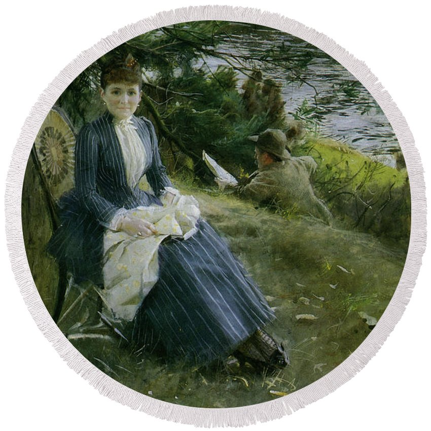 Anders Zorn Round Beach Towel featuring the digital art Mrs Symons In Scotland by Anders Zorn