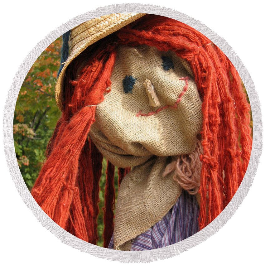 Scarecrow Round Beach Towel featuring the photograph Ms Scarecrow by Ann Horn