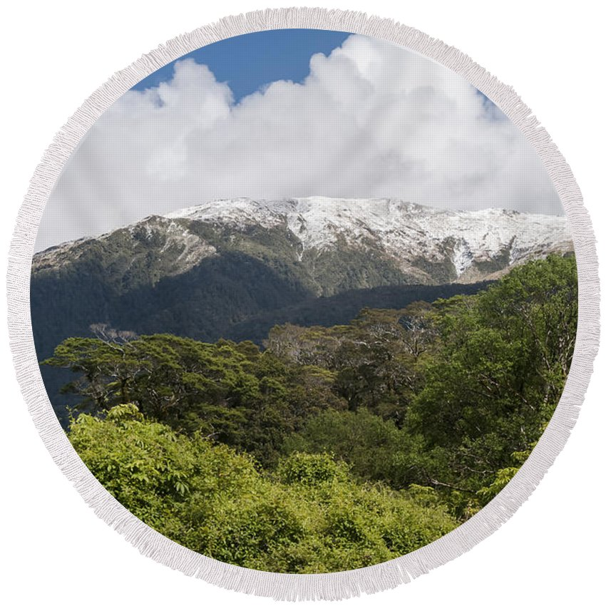 Mt. Aspiring National Park New Zealand Tree Trees Mountain Mountains Snow Landscape Landscapes Round Beach Towel featuring the photograph Mt. Aspiring National Park Mountains by Bob Phillips
