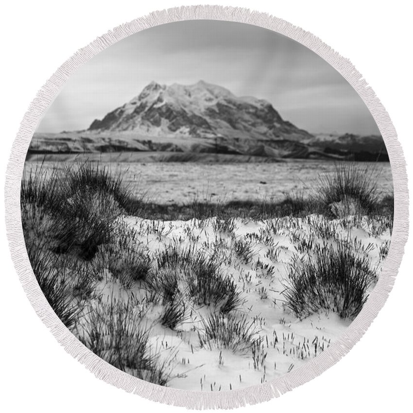 Bolivia Round Beach Towel featuring the photograph Mt Illimani In Monochrome by James Brunker