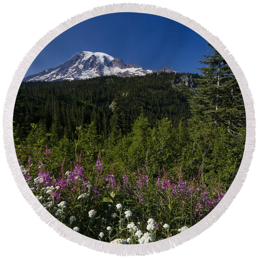 3scape Round Beach Towel featuring the photograph Mt. Rainier by Adam Romanowicz