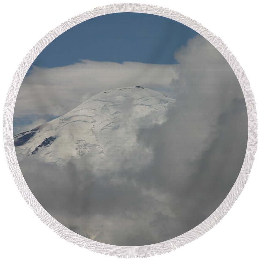 Clouds Round Beach Towel featuring the photograph Mt. Rainier In The Clouds by Hugh Carino