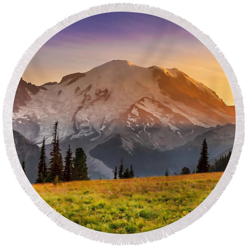 Mt Round Beach Towel featuring the photograph Mt. Rainier Sunset 2 by Mike Penney