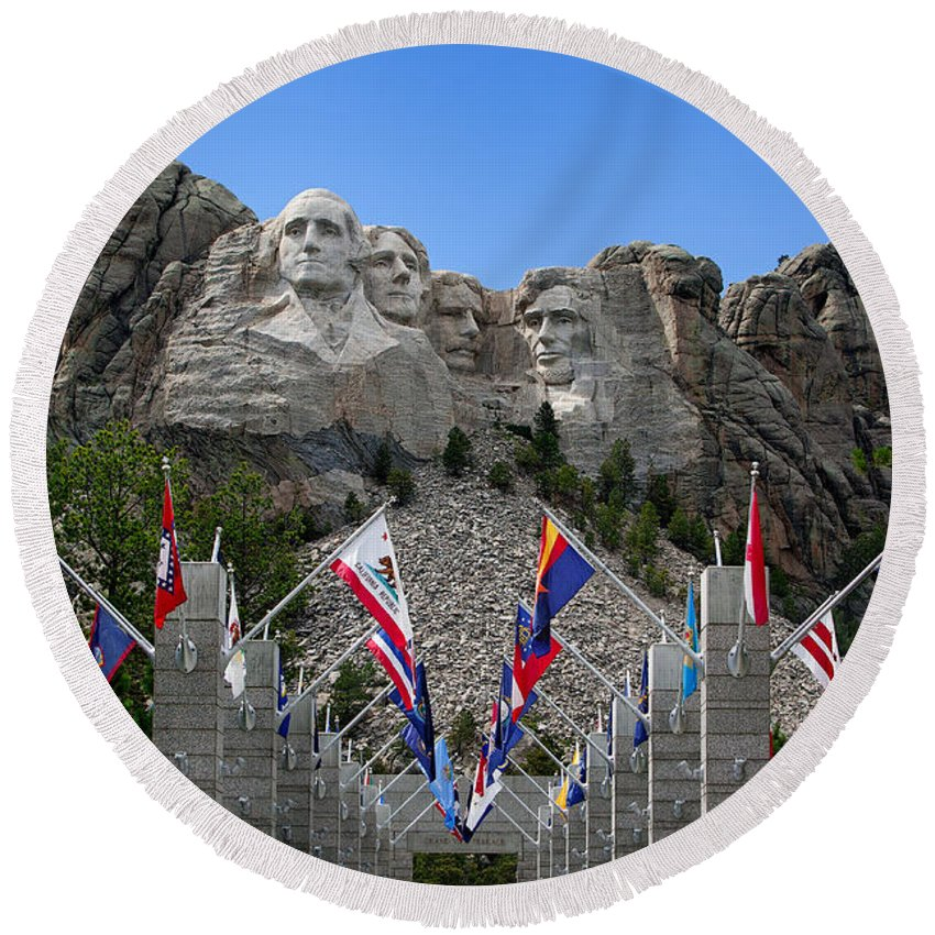 Mount Rushmore Round Beach Towel featuring the photograph Mt. Rushmore by Mary Jo Allen