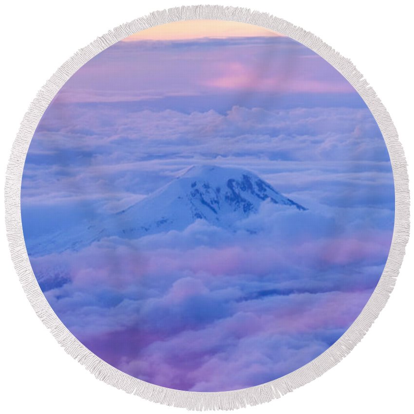 Mt. St. Helens Round Beach Towel featuring the photograph Above The Clouds At Sunset by Joy McAdams