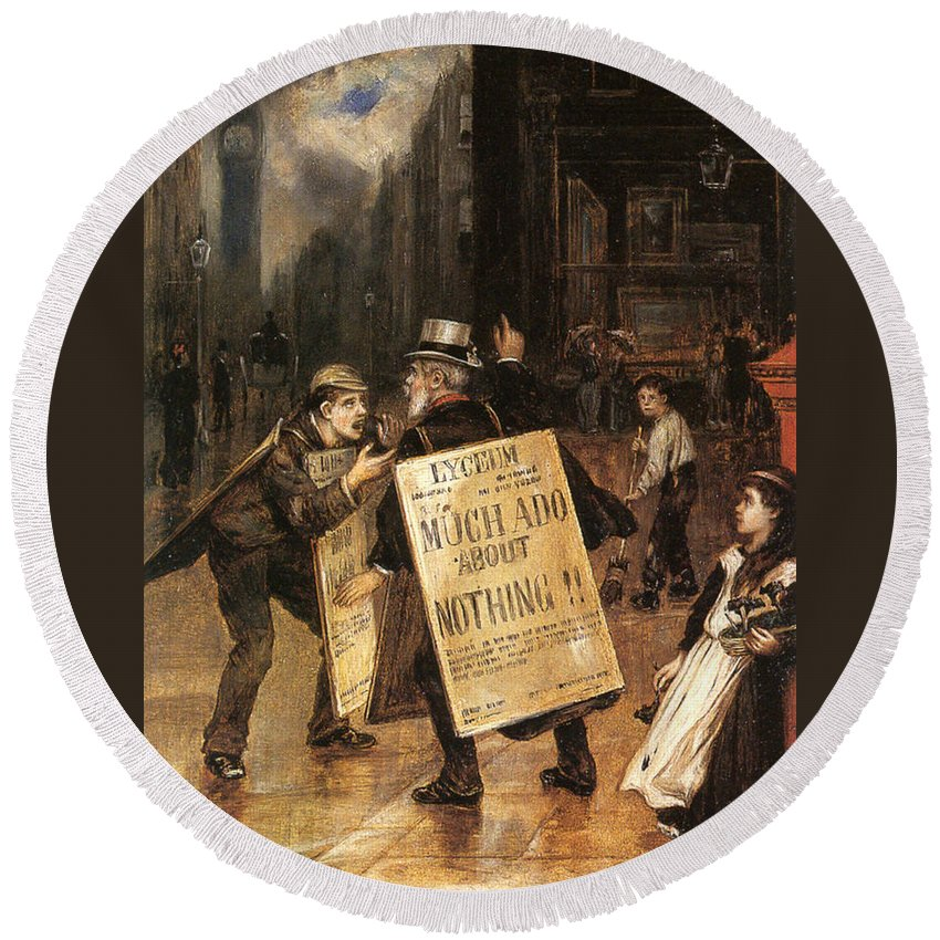 Augustus Edwin Mulready Round Beach Towel featuring the digital art Much Ado About Nothing by Augustus Edwin Mulready