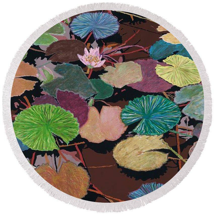 Landscape Round Beach Towel featuring the painting Muddy Waters by Allan P Friedlander