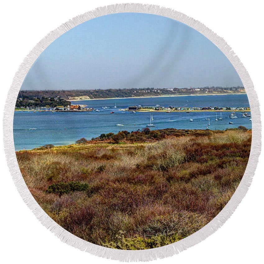 Mudeford Round Beach Towel featuring the photograph Mudeford Harbour by Chris Day
