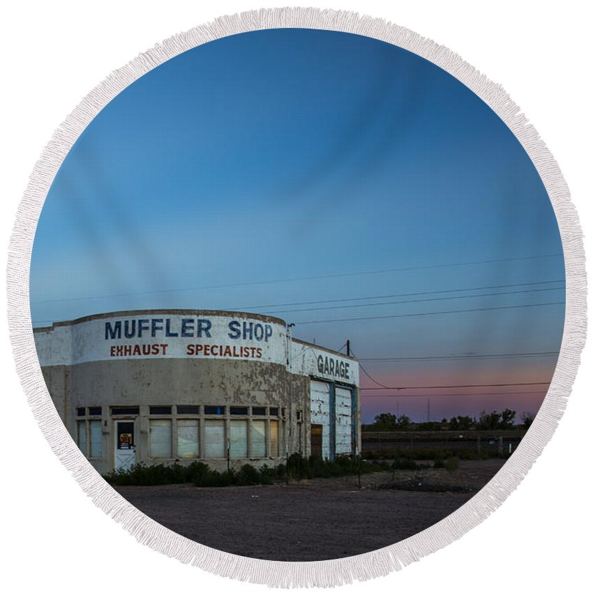 Route 66 Round Beach Towel featuring the photograph Muffler Shop by Angus Hooper Iii