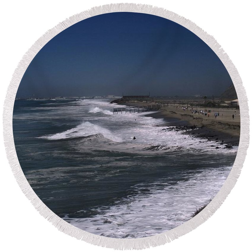 Hurricane Round Beach Towel featuring the photograph Mugu Lagoon by Michael Gordon