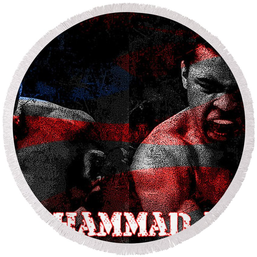 Muhammad Ali Mixed Media Mixed Media Mixed Media Round Beach Towel featuring the mixed media Muhammad Ali by Marvin Blaine