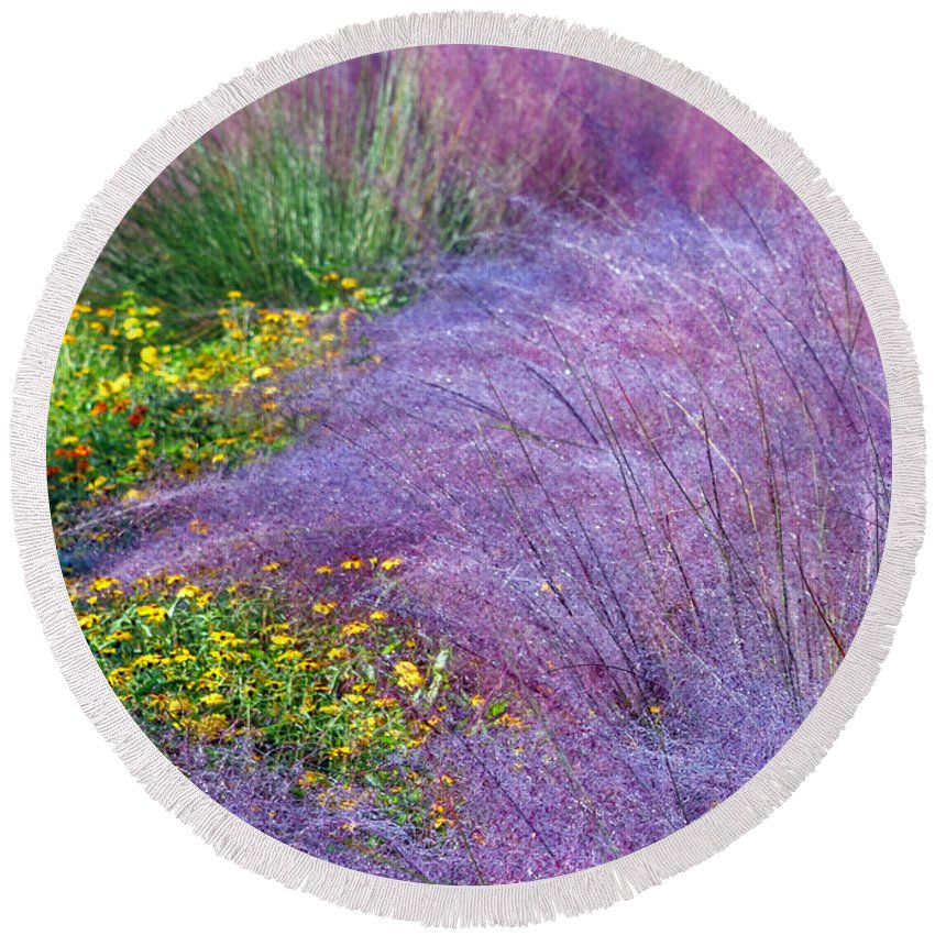 Gardens Round Beach Towel featuring the photograph Muhly Grass In The Morning by Lydia Holly