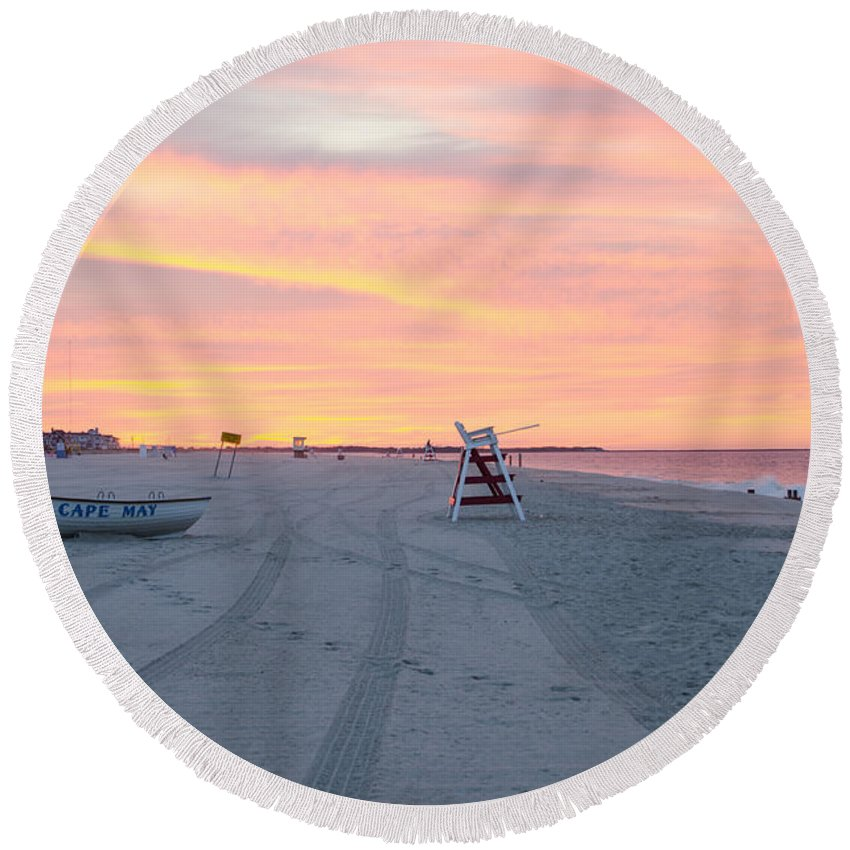 Multi Round Beach Towel featuring the photograph Multi Color Skies - Cape May New Jersey by Bill Cannon