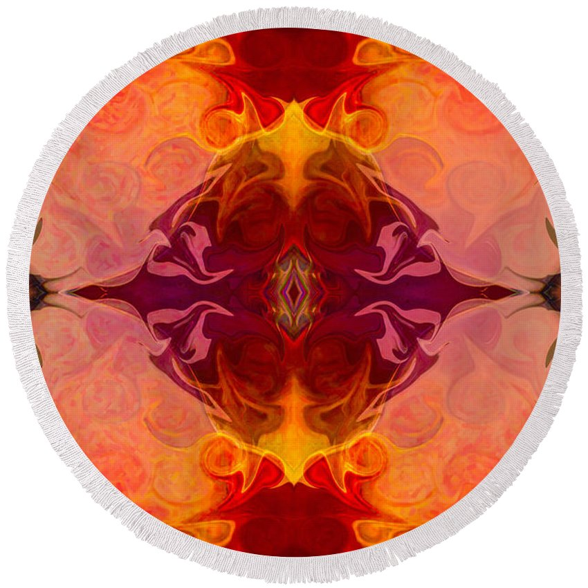 2x3 (4x6) Round Beach Towel featuring the digital art Multilayered Realities Abstract Pattern Artwork By Omaste Witkow by Omaste Witkowski