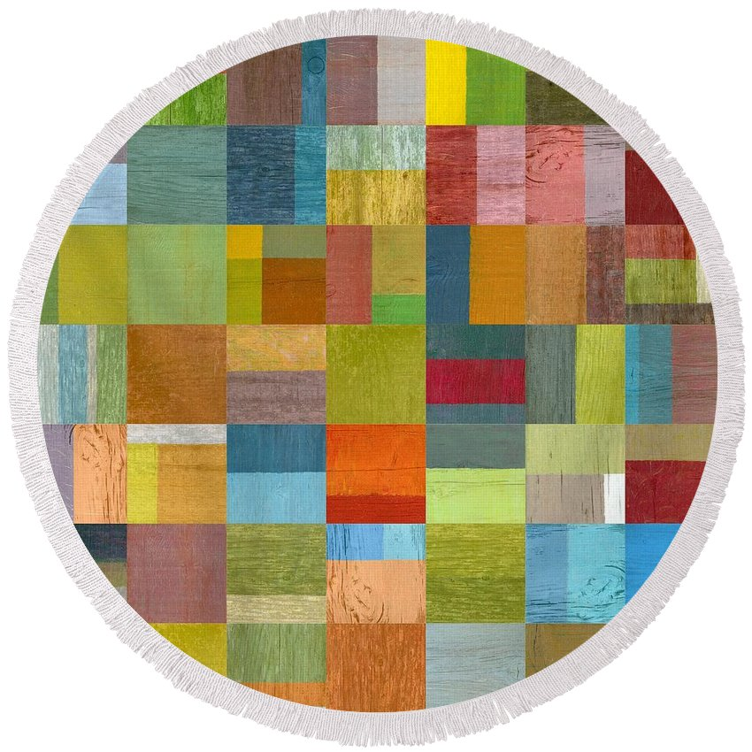 Abstract Round Beach Towel featuring the digital art Multiple Exposures L by Michelle Calkins