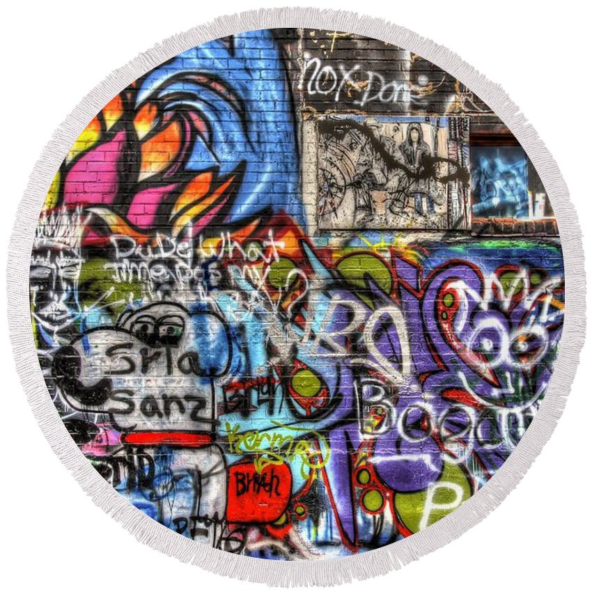 Graffiti Round Beach Towel featuring the photograph Multiple Personalities by Anthony Wilkening