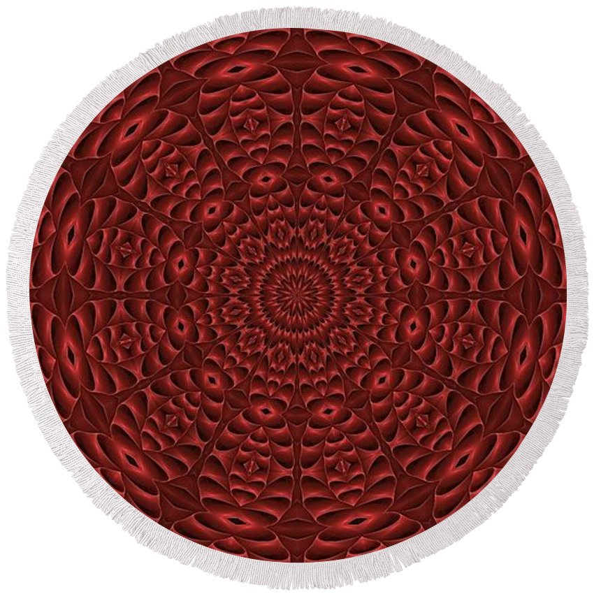 Fractal Kaleidoscopic Round Beach Towel featuring the digital art Multiplicity Mandala 16x9 by Doug Morgan