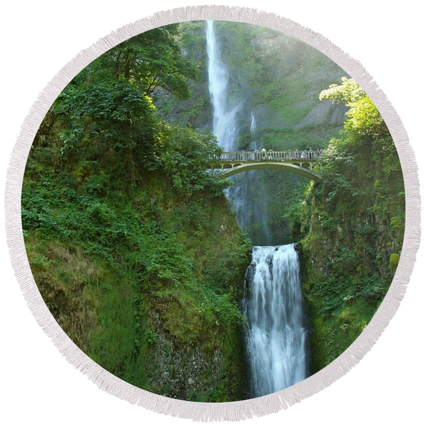 Multnomah Falls Round Beach Towel featuring the photograph Multnomah Falls by Christiane Schulze Art And Photography