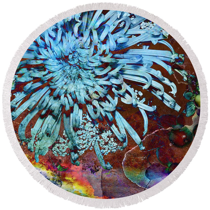 Flowers Round Beach Towel featuring the photograph Mum Soup by Phyllis Denton