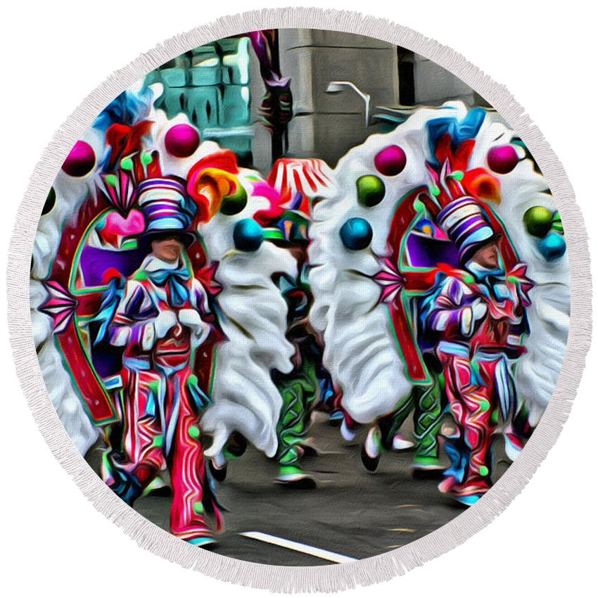 Mummers Parade Fancies Philadelphia Alicegipsonphotographs Round Beach Towel featuring the photograph Mummer Color by Alice Gipson
