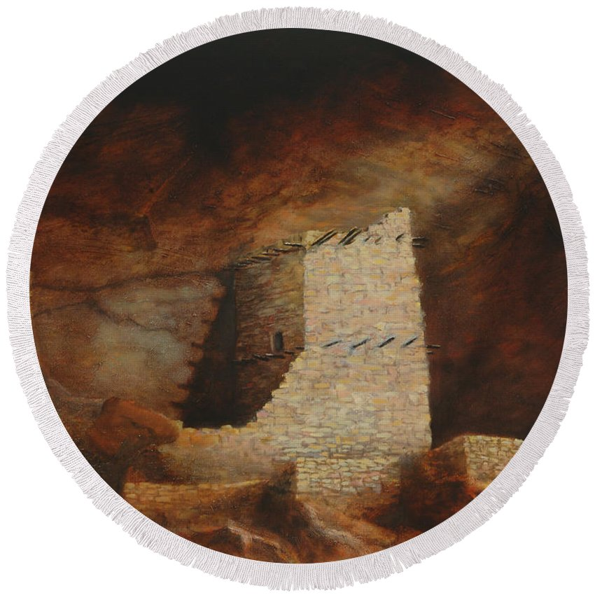 Anasazi Round Beach Towel featuring the painting Mummy Cave by Jerry McElroy