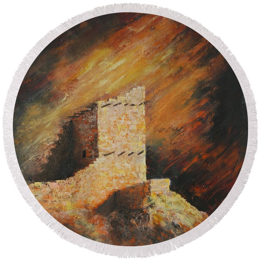 Anasazi Round Beach Towel featuring the painting Mummy Cave Ruins 2 by Jerry McElroy