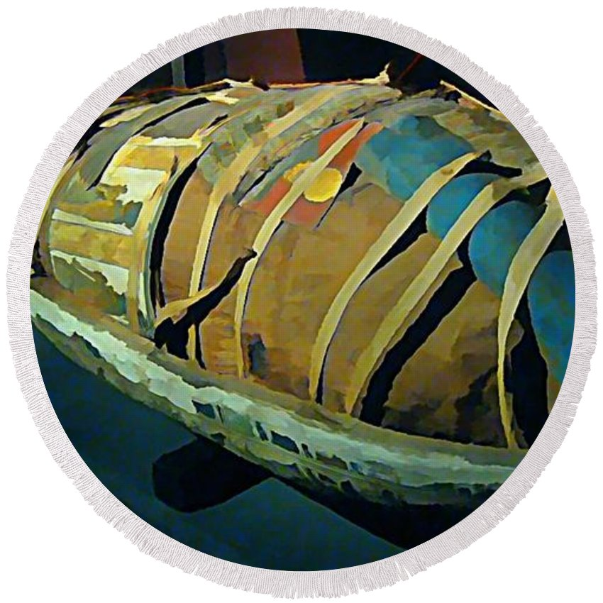 Mums The Word Round Beach Towel featuring the painting Mums The Word by John Malone Halifax artist