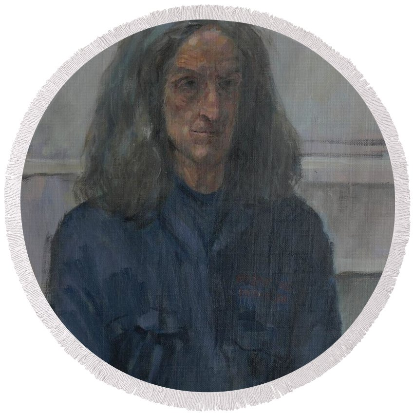 Portrait Round Beach Towel featuring the photograph Murray, 2008 Oil On Canvas by Pat Maclaurin