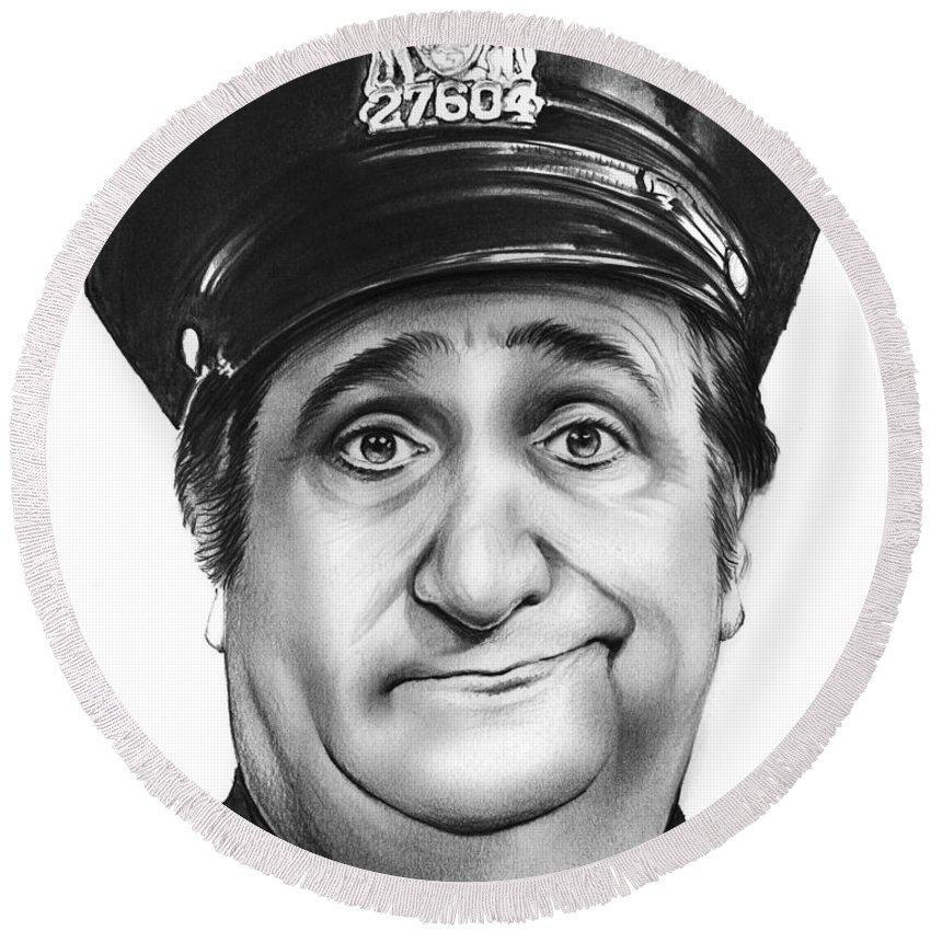 Al Molinaro Round Beach Towel featuring the drawing Murray The Cop by Greg Joens