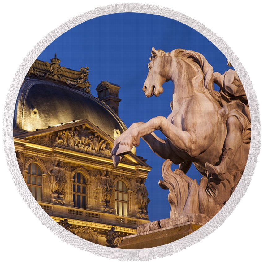 Architectural Round Beach Towel featuring the photograph Musee Du Louvre by Brian Jannsen