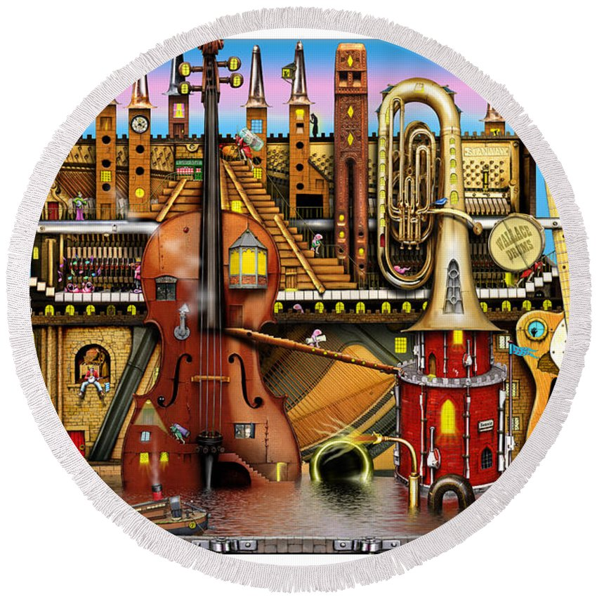 Colin Thompson Round Beach Towel featuring the digital art Music Castle by Colin Thompson