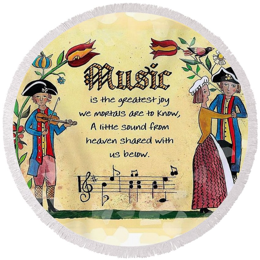 Fraktur Round Beach Towel featuring the painting Music Fraktur by Joan Shaver