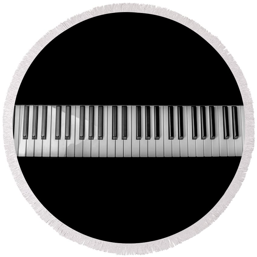 Symbol Round Beach Towel featuring the photograph Music Keyboard by FL collection