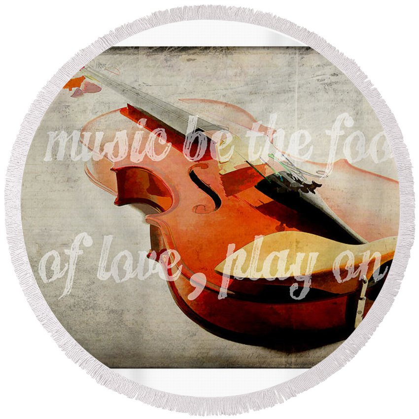 Music Round Beach Towel featuring the photograph Music Lover Card by Edward Fielding
