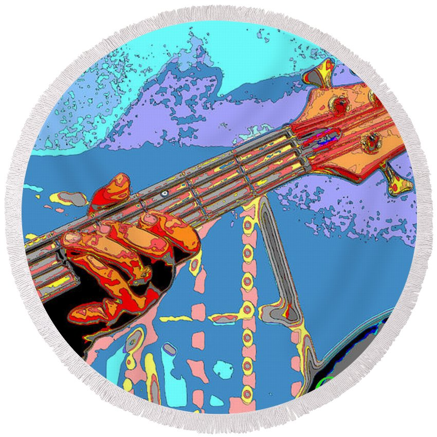Guitar Round Beach Towel featuring the photograph Music Out Of Metal Vi by C H Apperson