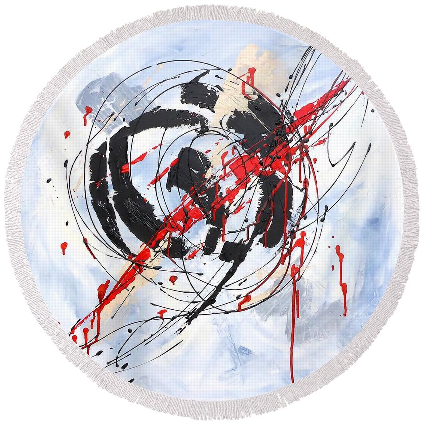 Painting Round Beach Towel featuring the painting Musical Abstract 002 by Cristina Stefan