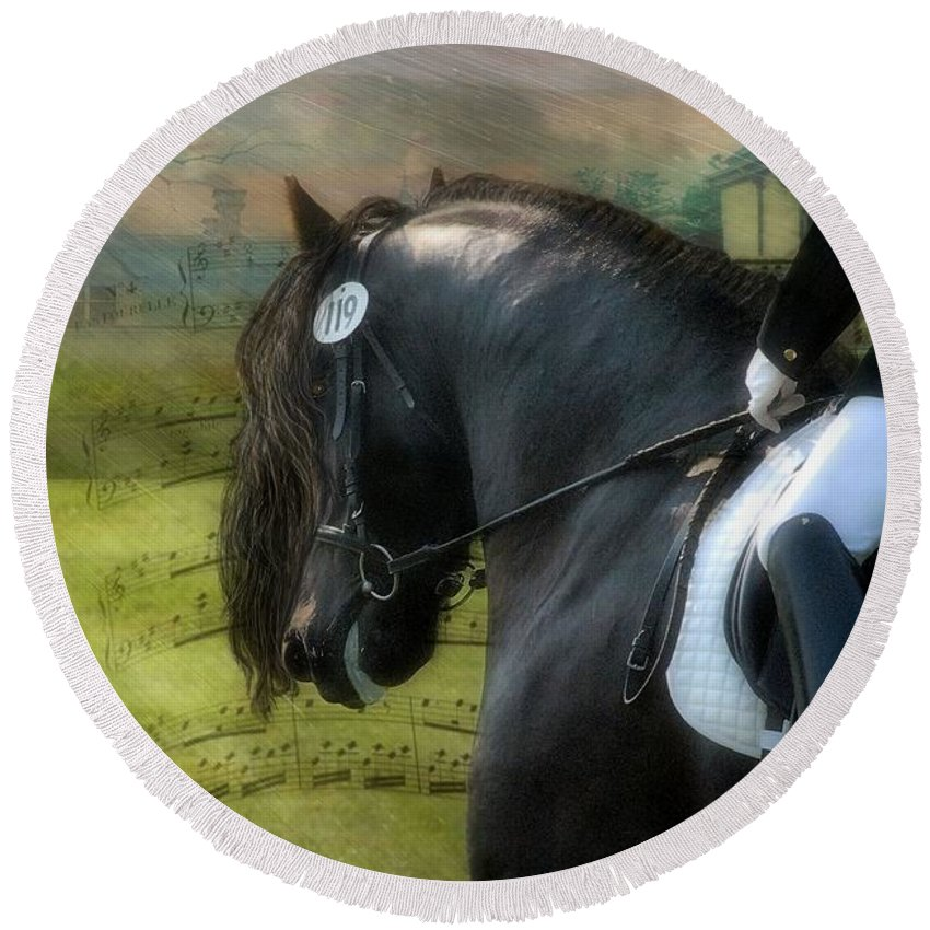 Friesian Horses Round Beach Towel featuring the digital art Musical Freestyle by Fran J Scott