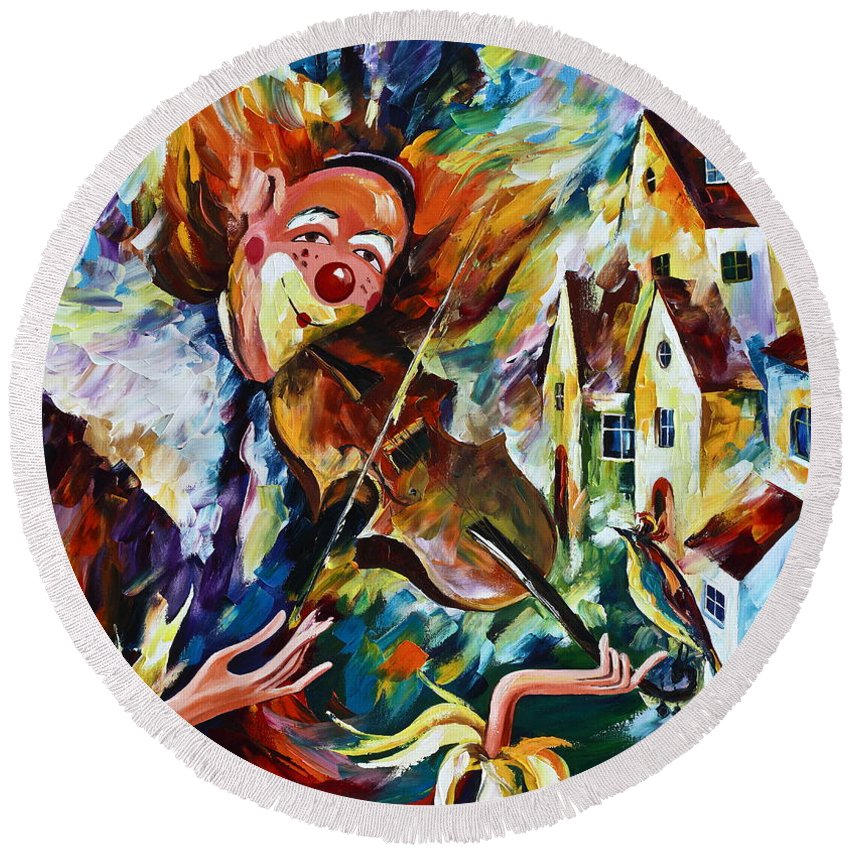 Clown Round Beach Towel featuring the painting Musical Maturity by Leonid Afremov