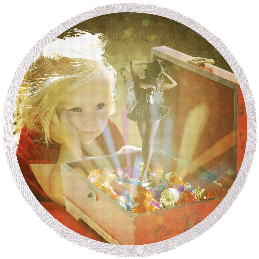 Child Round Beach Towel featuring the digital art Musicbox Magic by Linda Lees