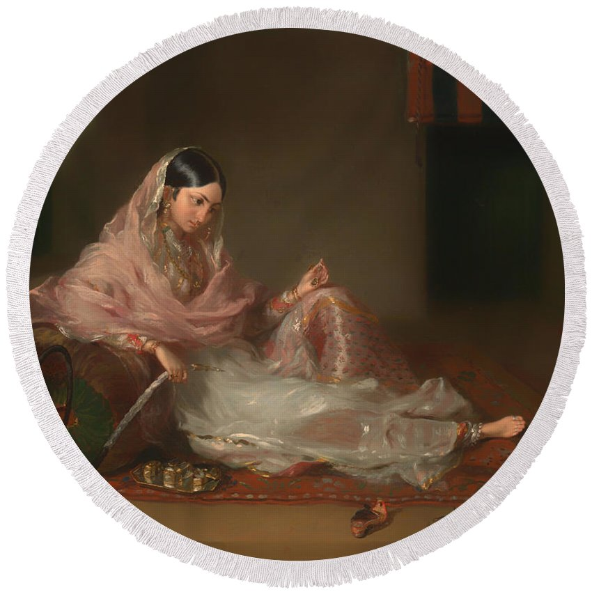 Painting Round Beach Towel featuring the painting Muslim Lady Reclining by Mountain Dreams