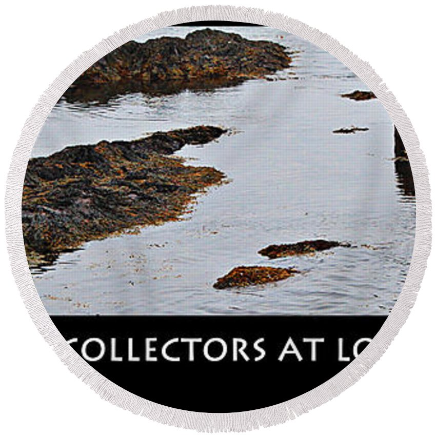 Mussel Collectors At Low Tide Round Beach Towel featuring the photograph Mussel Collectors At Low Tide - Shellfish - Low Tide by Barbara Griffin
