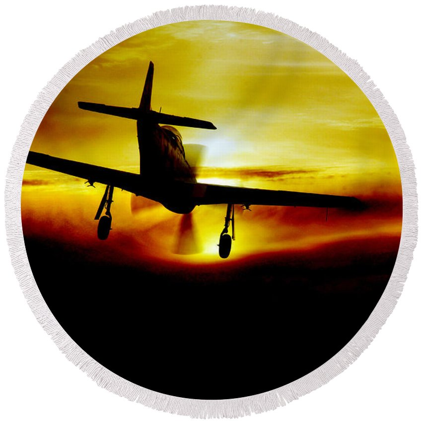 P51 Mustang Round Beach Towel featuring the digital art Mustang Recovery by J Biggadike