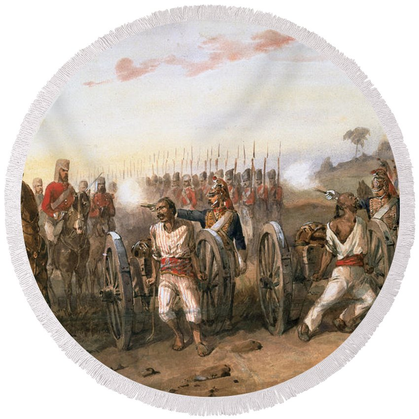 British Soldiers Round Beach Towel featuring the drawing Mutineers About To Be Blown From Guns by Orlando Norie