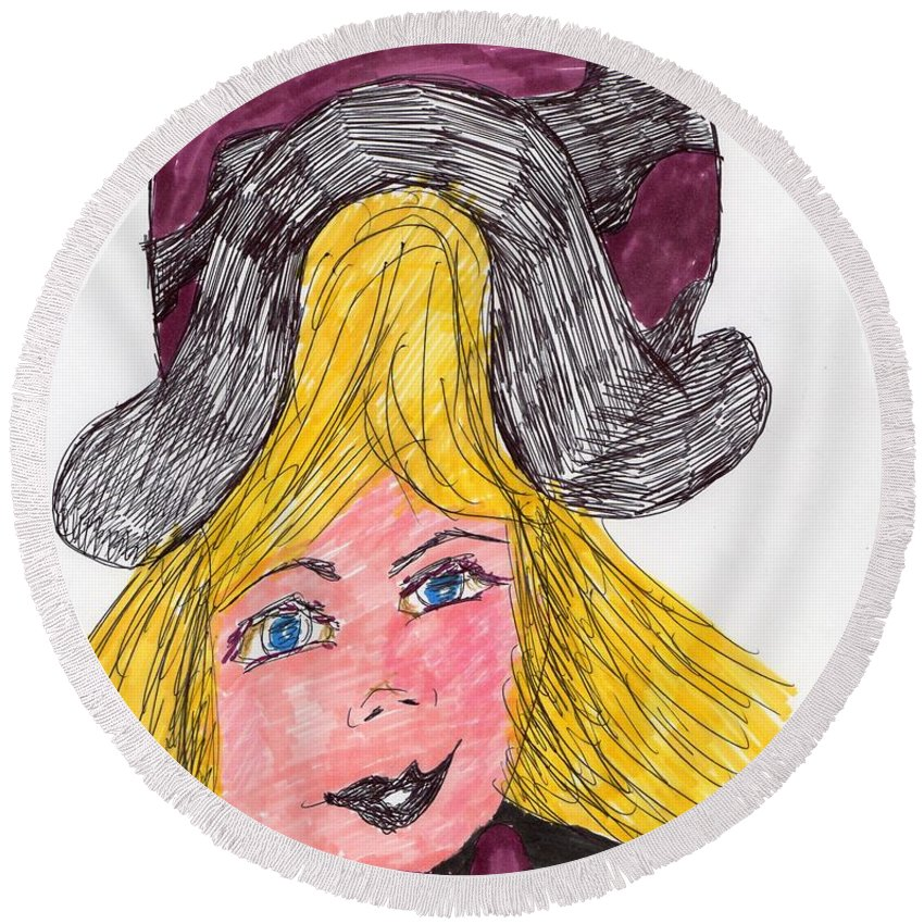 Purple And Black Hat Girl With Blond Hair Round Beach Towel featuring the mixed media My Best Hat by Elinor Rakowski