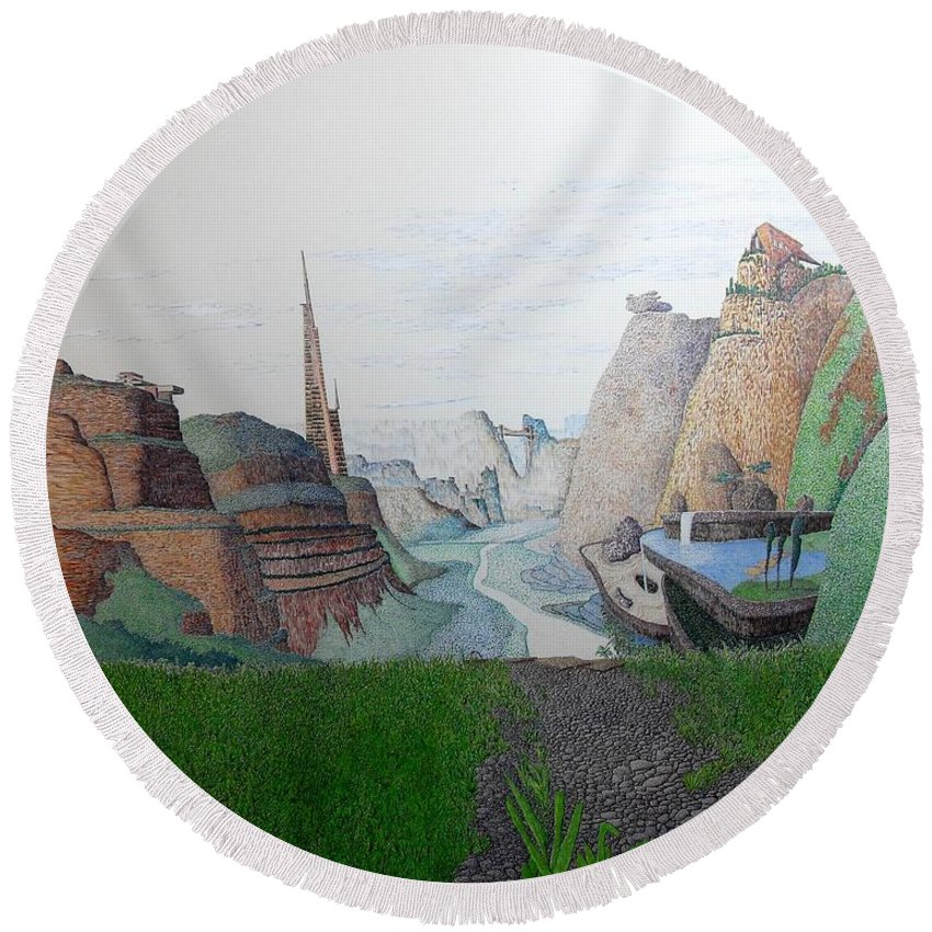 Landscape Round Beach Towel featuring the painting My Bigger Back Yard by A Robert Malcom